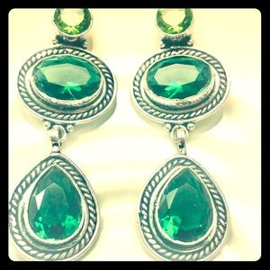 Sterling Silver w/ Green Stained Glass.